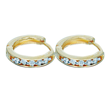 Affinity Jewellers Designer American Diamond Round Shaped Earring Gold Plated