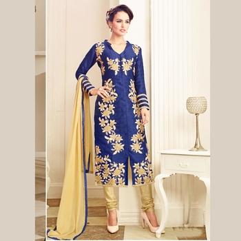 Dark Blue embroidered cotton semi stitched salwar with dupatta