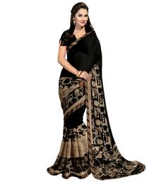 Buy Black and Beige printed georgette saree georgette-saree online