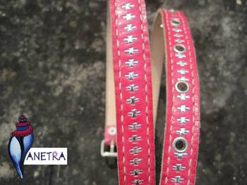 pink silver leather Belt