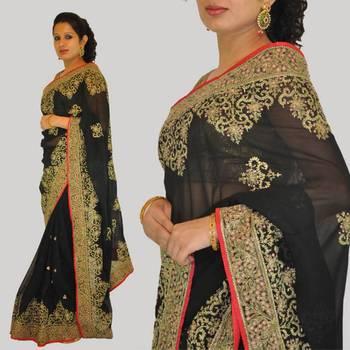 Black Zari Embroidered Saree
