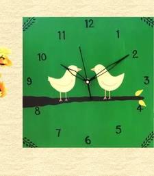 Wooden Wall Clock - Love Birds