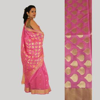 Lotus Pink Gold Drop Motif Saree