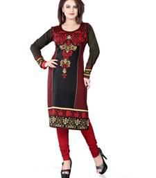 Black and red american crepe printed kurti