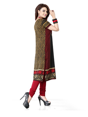 Black and red american crepe printed kurti