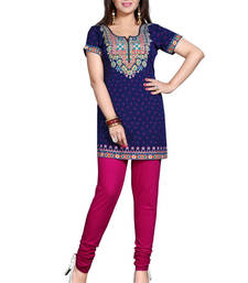 Buy Purple american crepe printed kurti indian-dress online