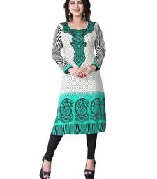 Buy Green and white american crepe printed kurti long-kurti online