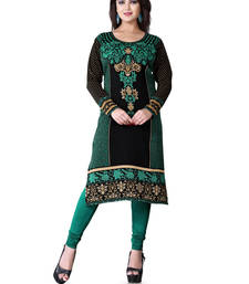 Buy Black and green american crepe printed kurti long-kurti online
