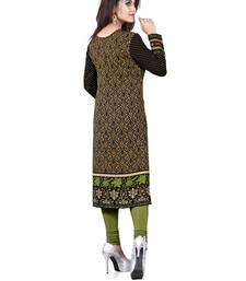 Black and green american crepe printed kurti shop online