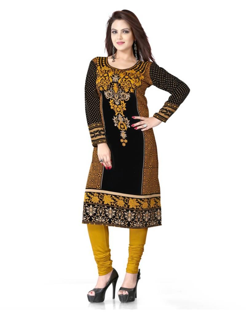 ac58de22e1 Black and yellow american crepe printed kurti - KURTIS INDIA - 907688