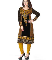 Buy Black and yellow  american crepe printed kurti long-kurtis online