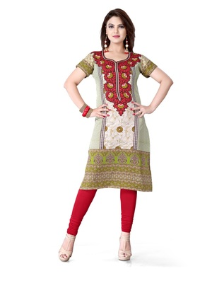 Green and red american crepe printed kurti