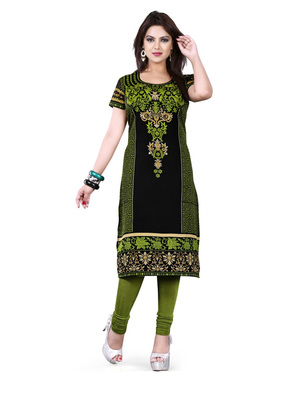 Black and green american crepe printed kurti