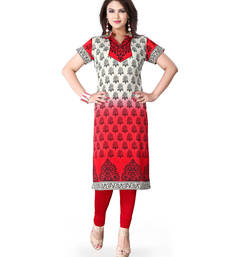 Red and white american crepe printed kurti