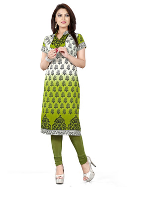 Green and white american crepe printed kurti