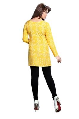 Yellow American Crepe Printed Kurti Kurtis India 907723