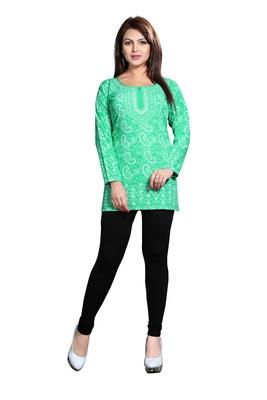 Green american crepe printed kurti