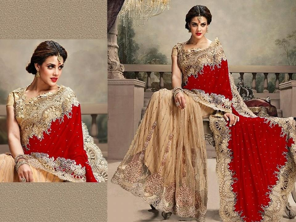 e297c411f2 Designeer red And gold Heavy Velvet and Net Half-Half Bridal Saree -  Mordenfab - 608746