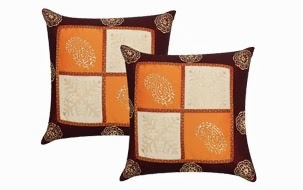 Hand Gold Print Cushion Cover- Set of 2
