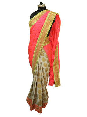 Rose print pink and white gold Half and Half Saree