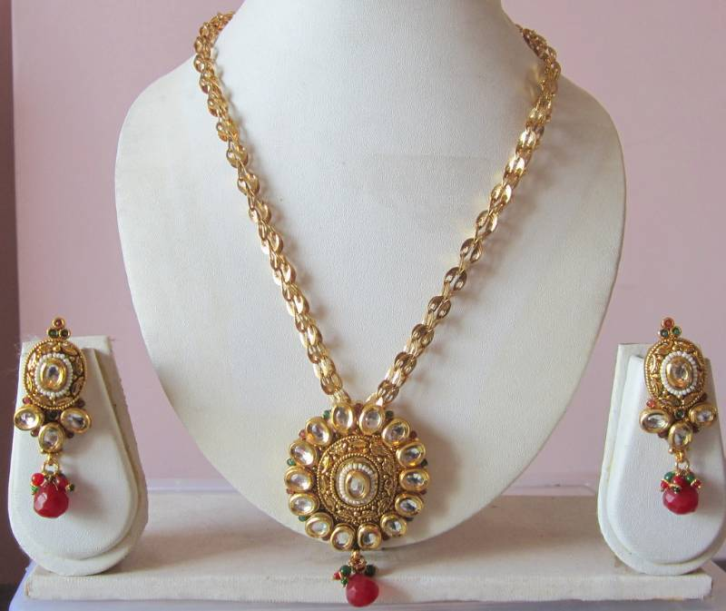 Buy gold plated chain kundan polki pendant earring set online plated chain kundan polki pendant earring set aloadofball Images