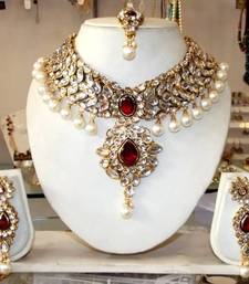 Buy MAROON GOLD PEARLS CHOKER NECKLACE EARRING TIKA SET necklace-set online