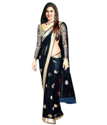 Black embroidered net saree with blouse work