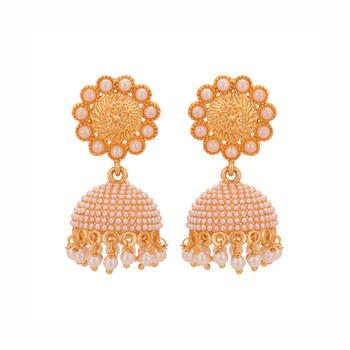Copper Jhumki Wedding & Engagement Earrings