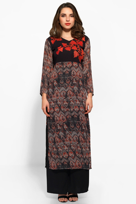 Brown and Black Georgette Embroidered Long Kurta