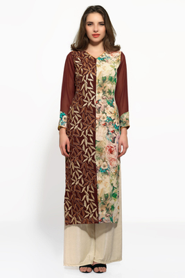 Brown and beige georgette embroidered kurti