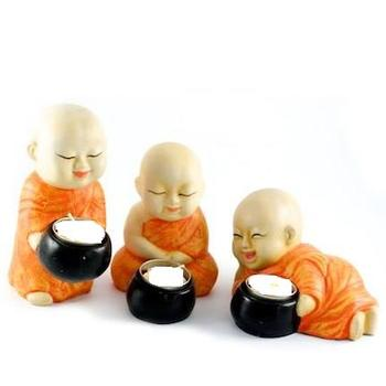 Beautiful Set of 3 Monks Candles