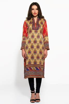 Beige and red pashmina long kurti