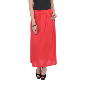 Red plain cotton lycra skirts
