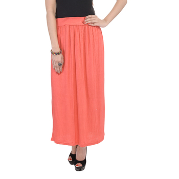 Orange plain cotton lycra skirts