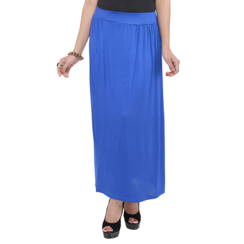 Blue plain cotton lycra skirts