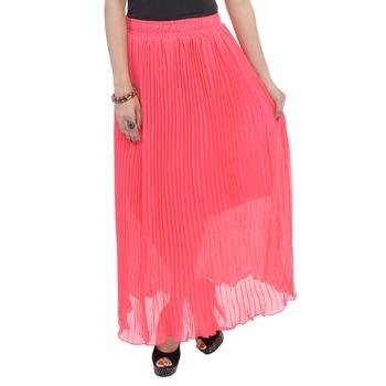 Carrot pink wrinkled chiffon skirts