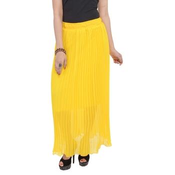 Yellow wrinkled chiffon skirts
