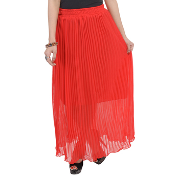 Red wrinkled chiffon skirts