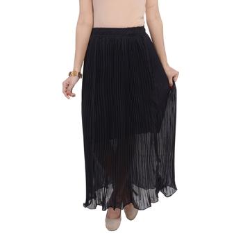 Black wrinkled chiffon skirts