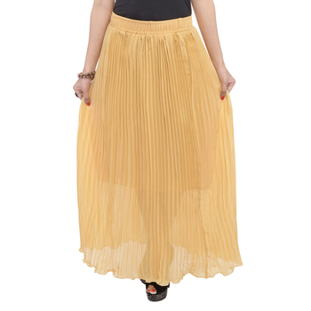 Beige wrinkled chiffon skirts