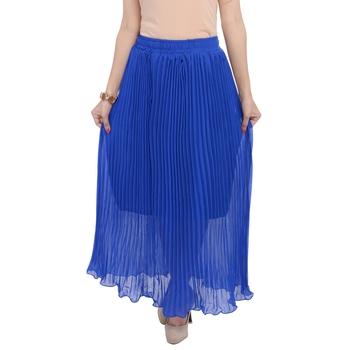Blue wrinkled chiffon skirts