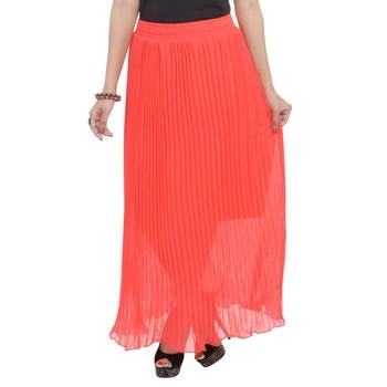 Orange wrinkled chiffon skirts