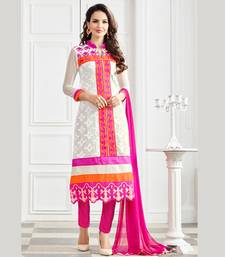 Off white and pink georgette embroidered semi stitiched salwar with dupatta