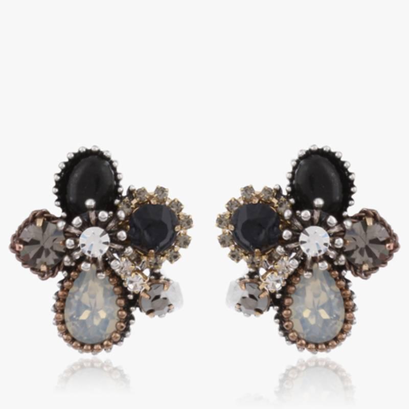 Black Stone Earrings: Buy Grey Black Stone Stud Earrings Online