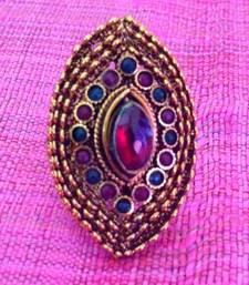Buy Adjustable oval red green ring v670 Ring online