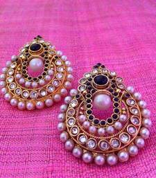 Buy Beautiful white and black pearl polki earrings by adiva C6K Earring online