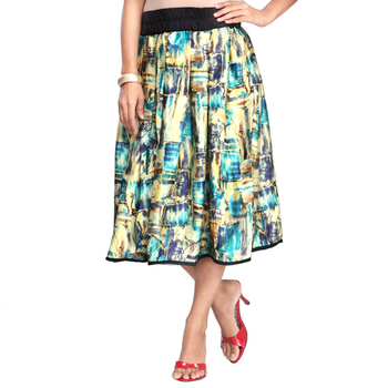 Multicolor satin knee length skirt