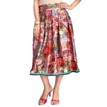 Multicolor satin digital  printed knee length skirt