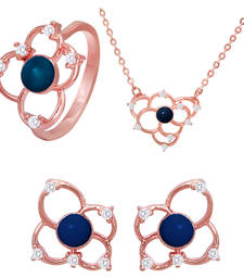 Buy Blue Flower Rose Gold Plated Pendant Set with Ring for Women jewellery-combo online