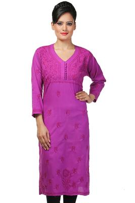 062a312583 Ada Handcrafted Large Purple Cotton Lakhnavi Chikankari Long Kurti - Ada -  911385